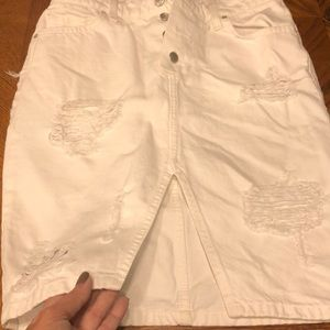 Joes white denim distressed pencil skirt